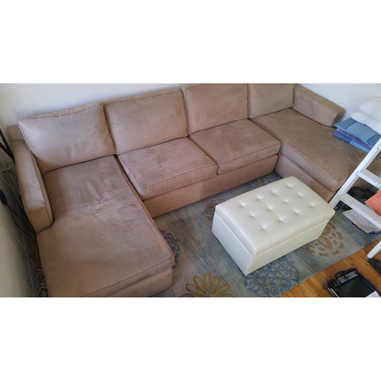 Crate & Barrel Sectional Sofa in Mushroom Color - image-5