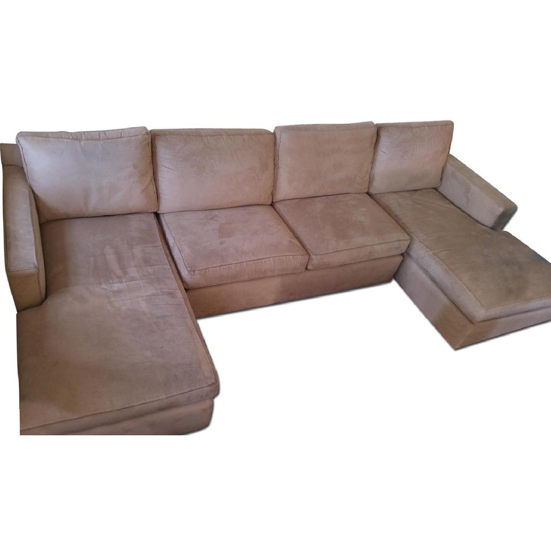 Crate & Barrel Sectional Sofa in Mushroom Color - image-0