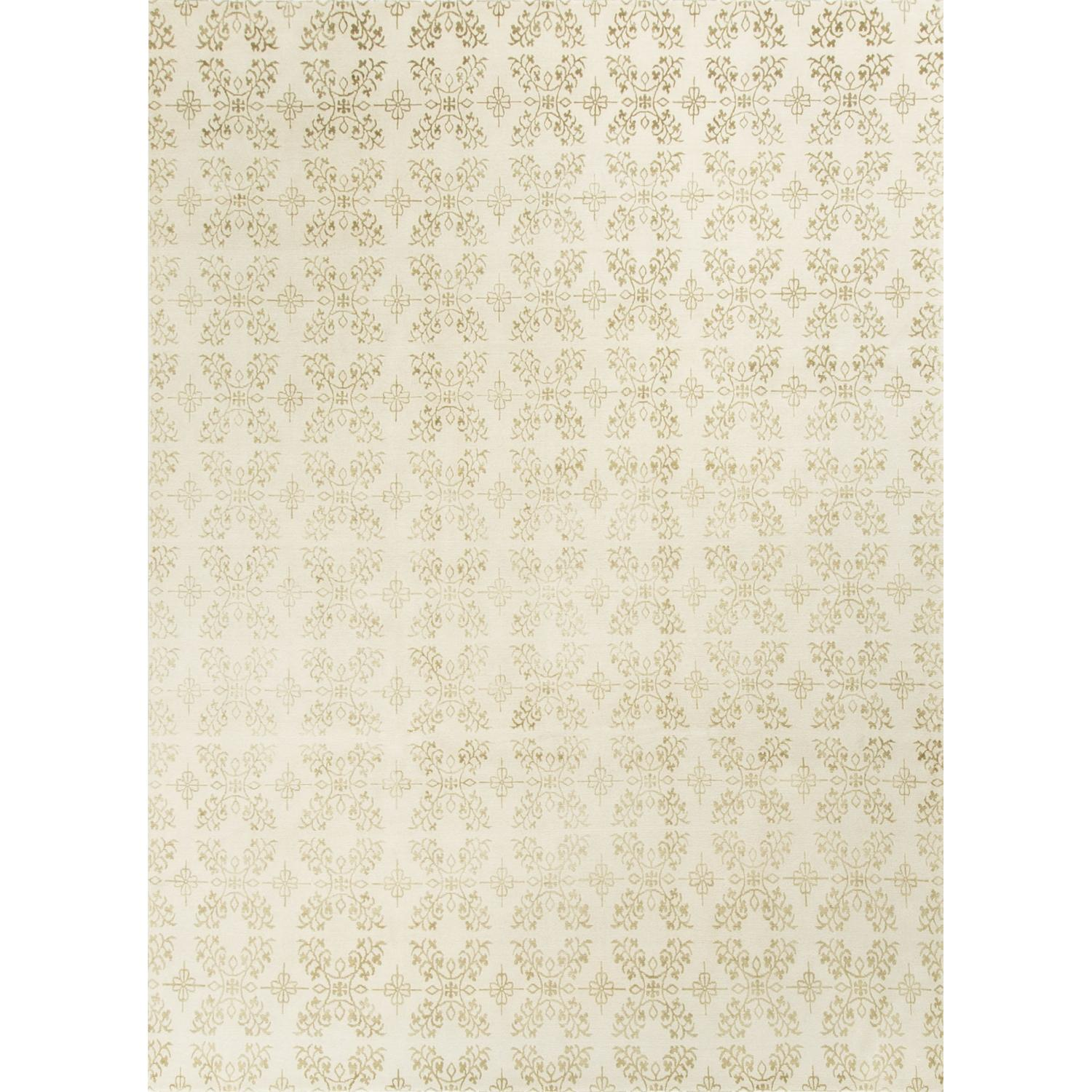 Modern Contemporary Hand Knotted Wool Rug in Ivory - image-0