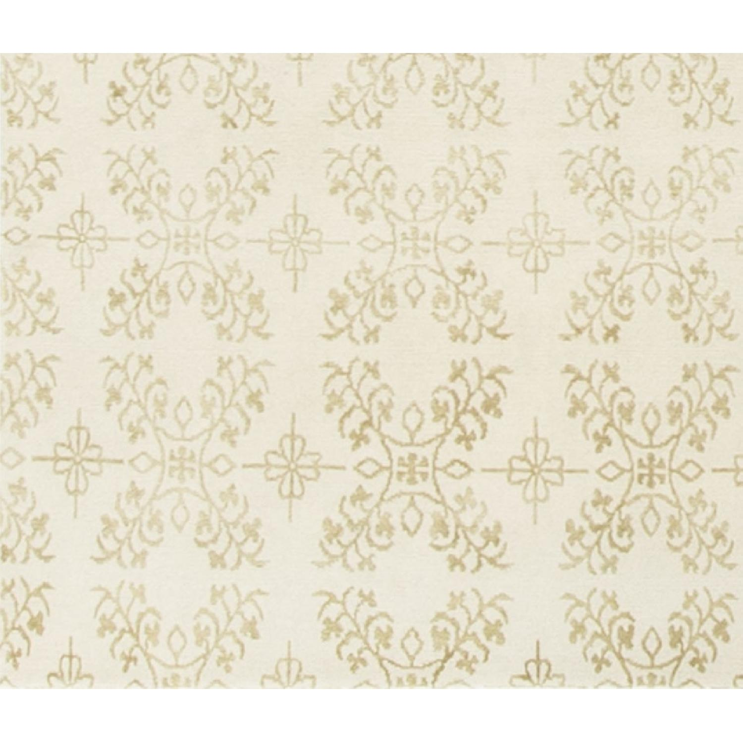 Modern Contemporary Hand Knotted Wool Rug in Ivory - image-3