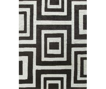 Modern Contemporary Hand Knotted Wool Rug in Black/White