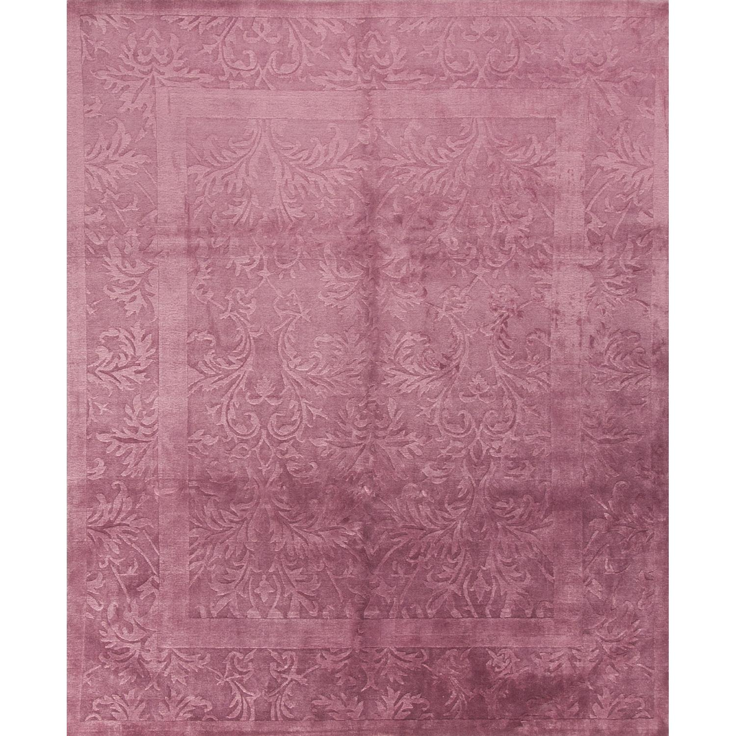 Modern Contemporary Hand Knotted Wool Rug in Plum - image-0