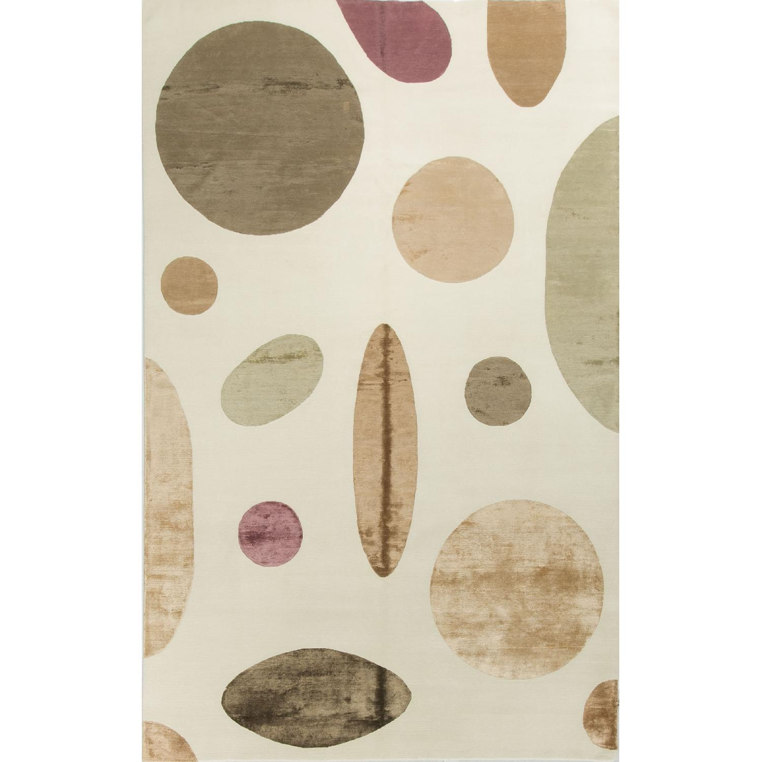 Modern Contemporary Hand Knotted Wool Rug in White/Multi - image-0