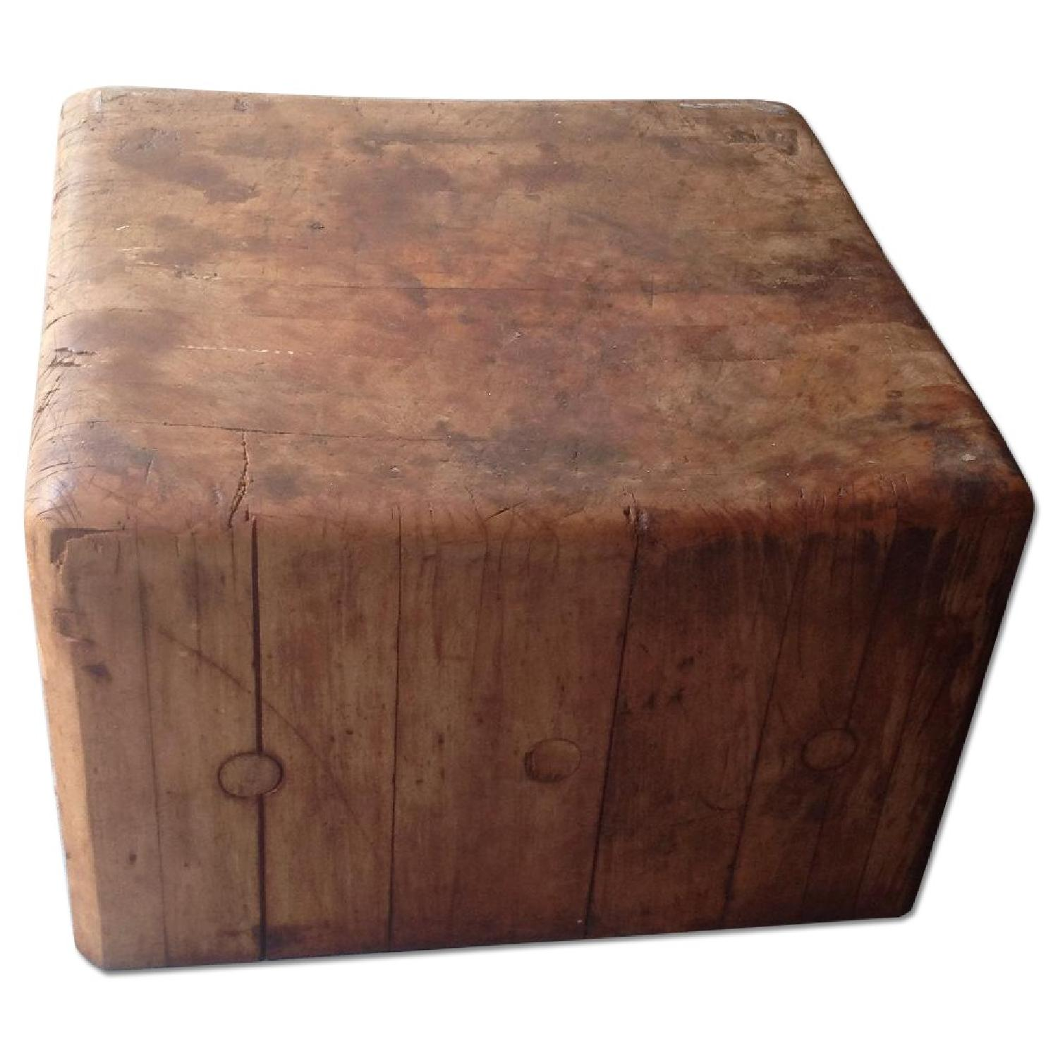 Antique Butcher Block Coffee Table - image-0
