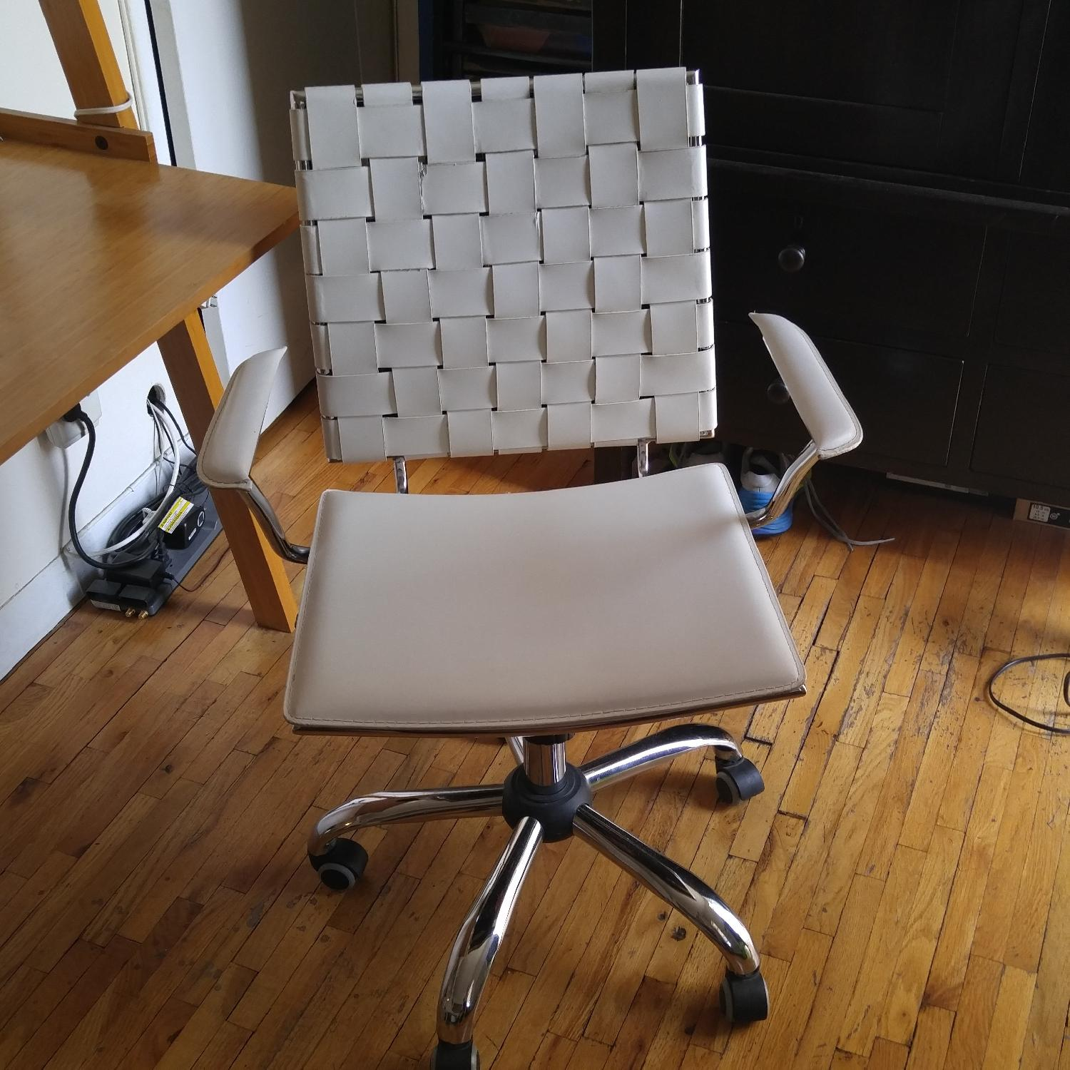 Italian Made White Leather & Chrome Office Chair - image-2