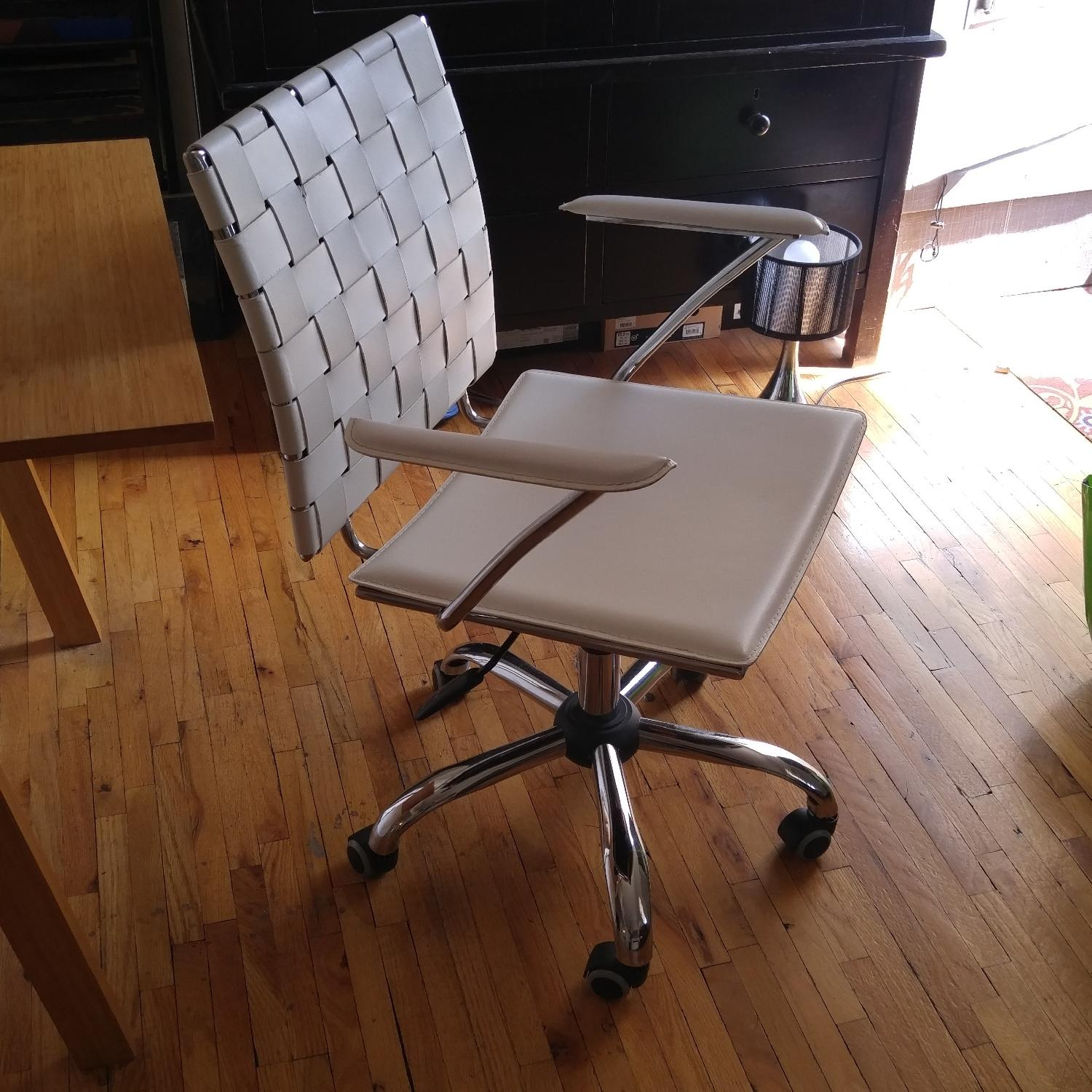 Italian Made White Leather & Chrome Office Chair - image-3