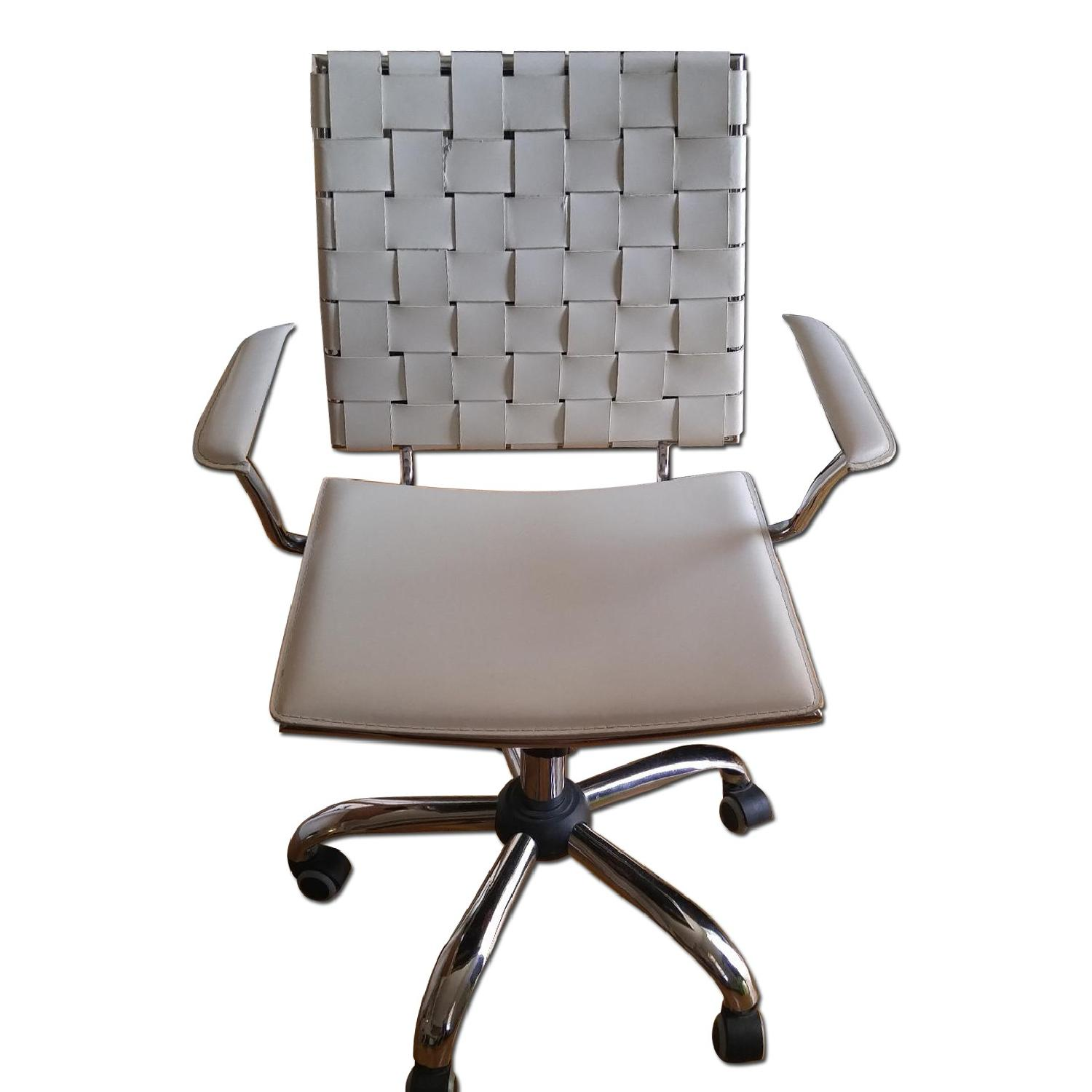 Italian Made White Leather & Chrome Office Chair - image-0