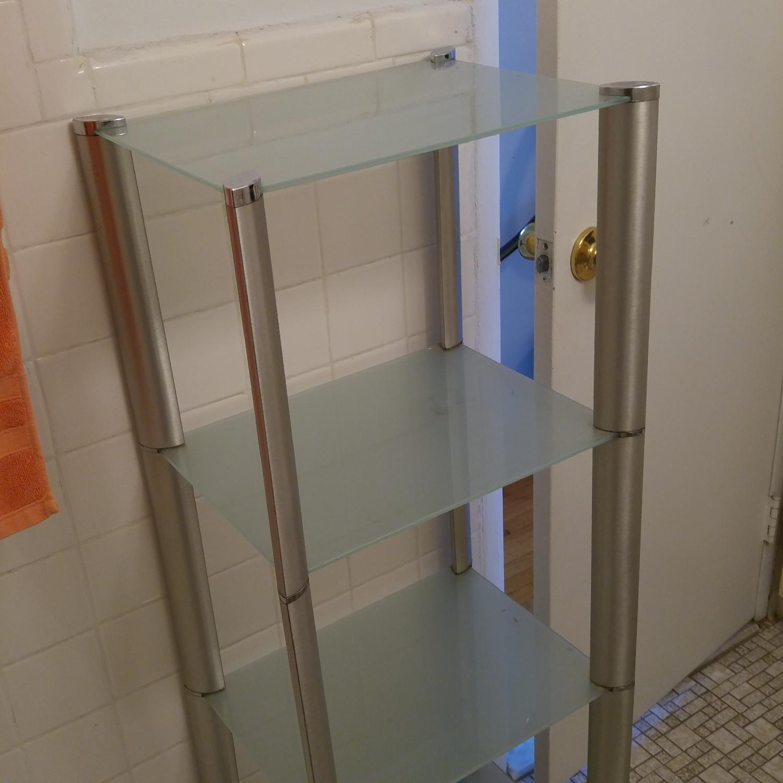 Bathroom Organizer Frosted w/ Glass Shelves & Metal Frame - image-1