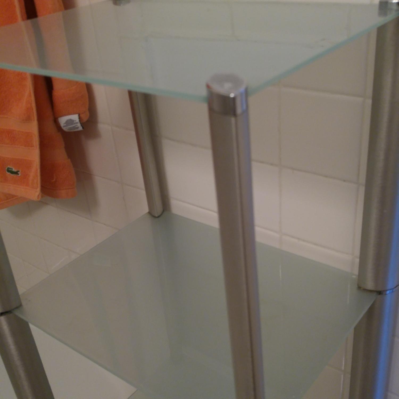 Bathroom Organizer Frosted w/ Glass Shelves & Metal Frame - image-2