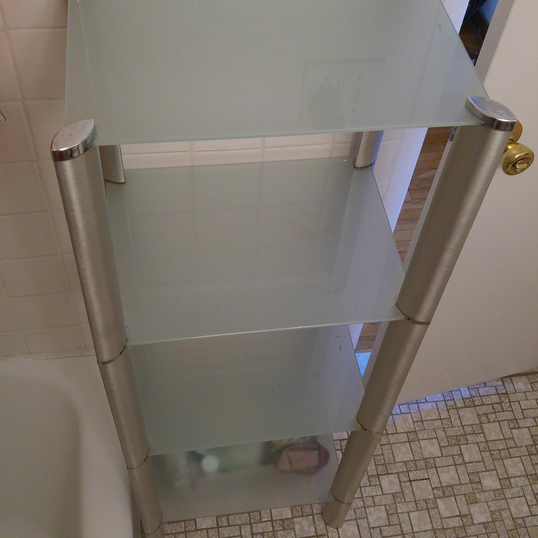 Bathroom Organizer Frosted w/ Glass Shelves & Metal Frame - image-3