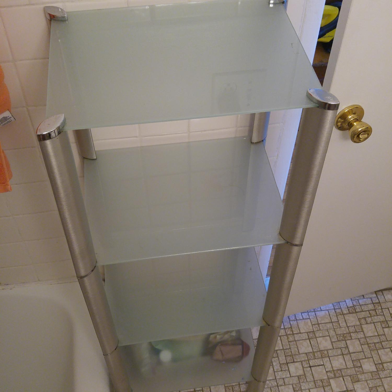 Bathroom Organizer Frosted w/ Glass Shelves & Metal Frame - image-4