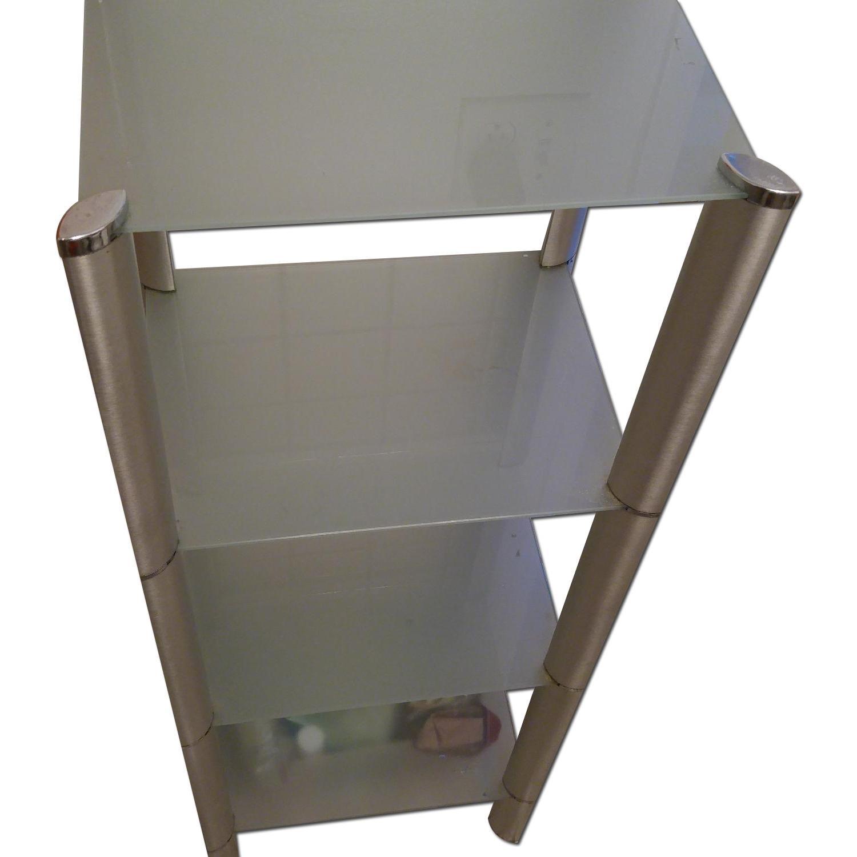 Bathroom Organizer Frosted w/ Glass Shelves & Metal Frame - image-0