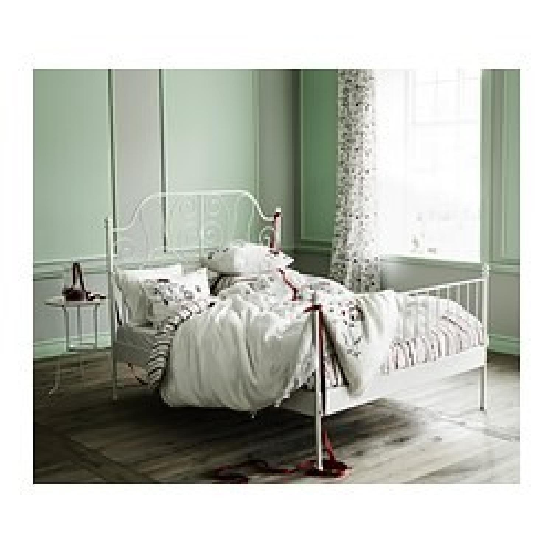Ikea Leirvik White Full Size Iron Metal Country Style Bed Frame - image-2