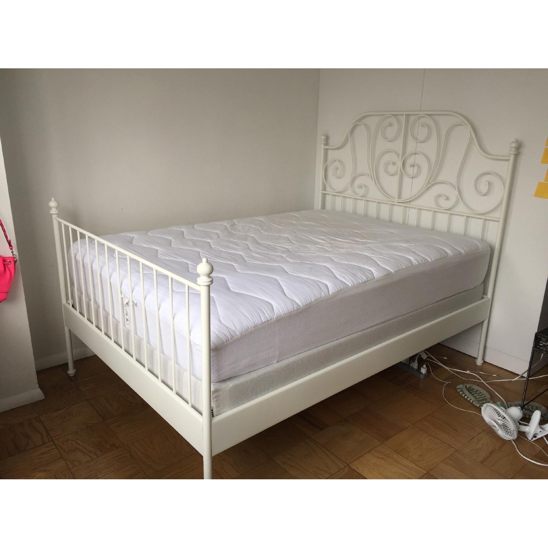 Ikea Leirvik White Full Size Iron Metal Country Style Bed Frame - image-6