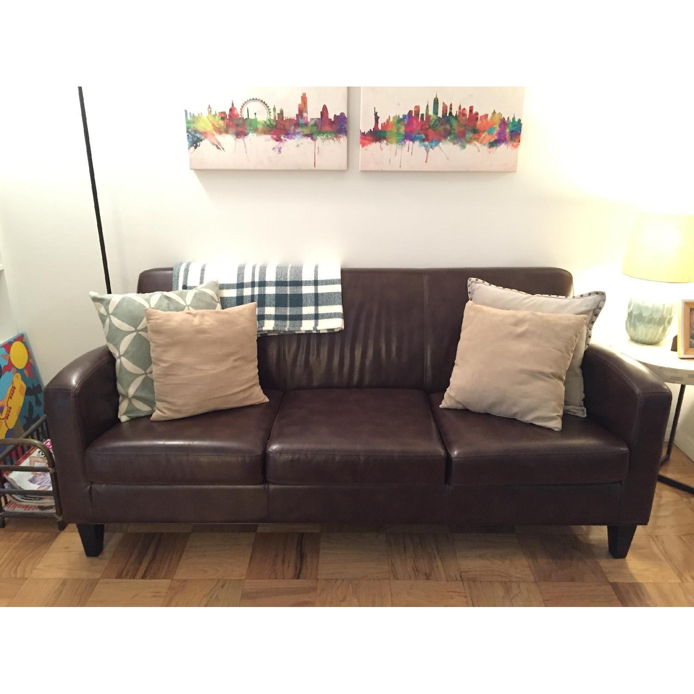 Ikea Jappling Dark Brown Leather Sofa - image-2