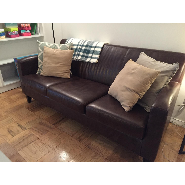 Ikea Jappling Dark Brown Leather Sofa - image-3