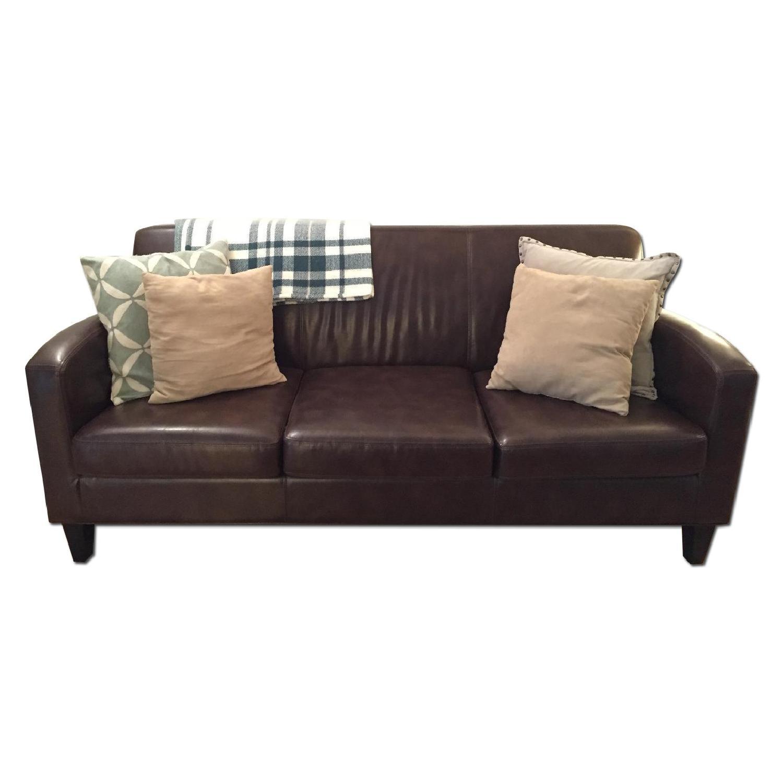Ikea Jappling Dark Brown Leather Sofa - image-0