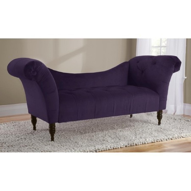 Skyline Furniture Purple Velvet Tufted Chaise Sofa - image-2