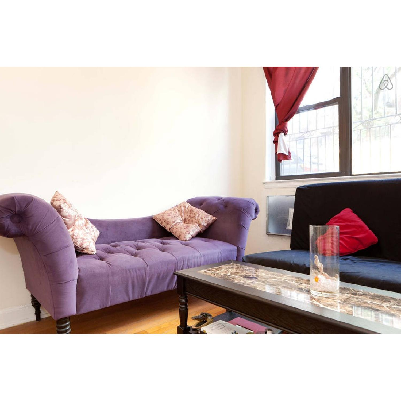Skyline Furniture Purple Velvet Tufted Chaise Sofa - image-3