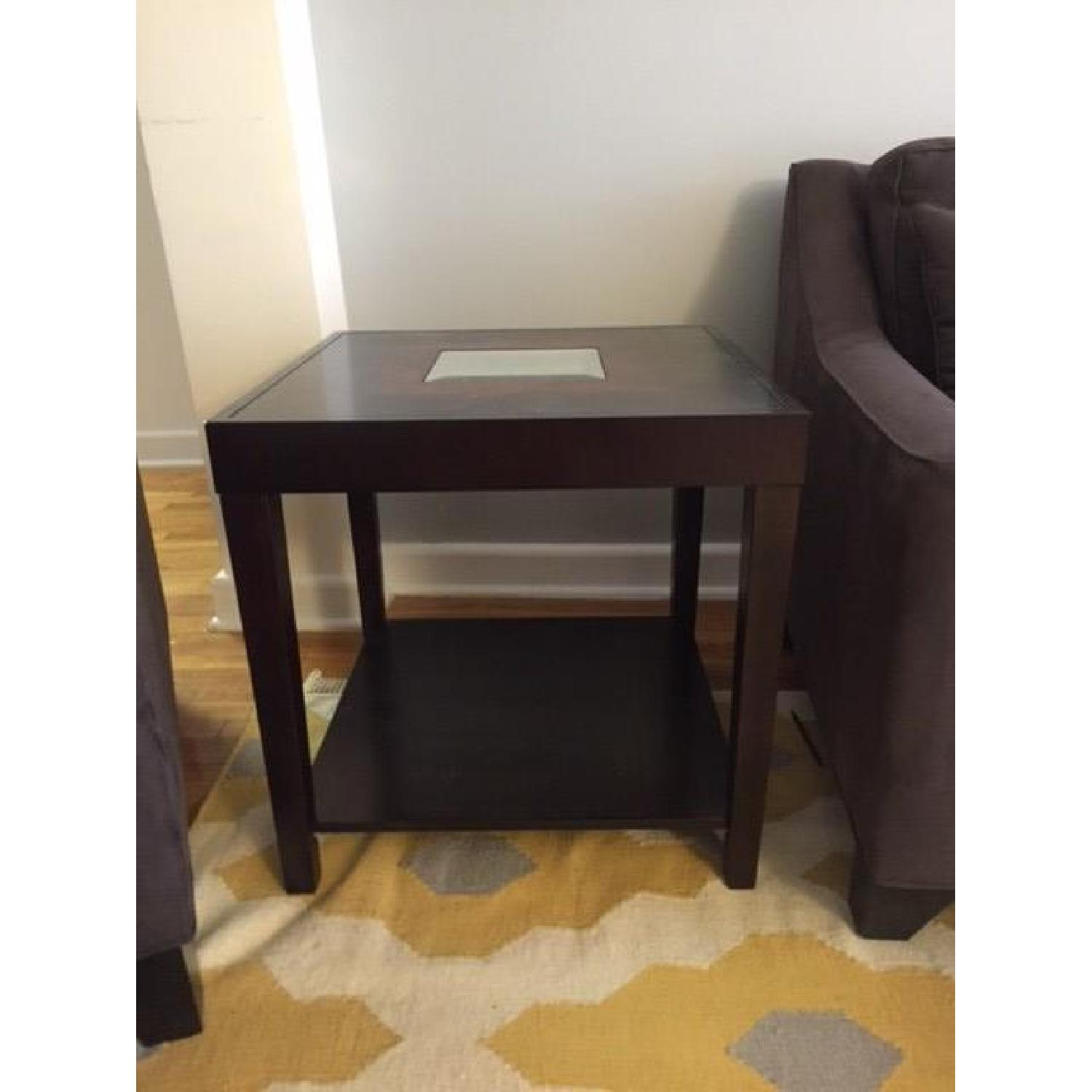 Dark Wood Side Table w/ Mirrored Center - image-1