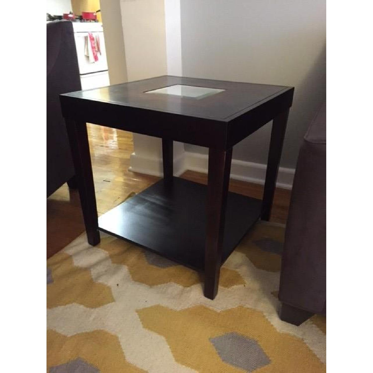 Dark Wood Side Table w/ Mirrored Center - image-2