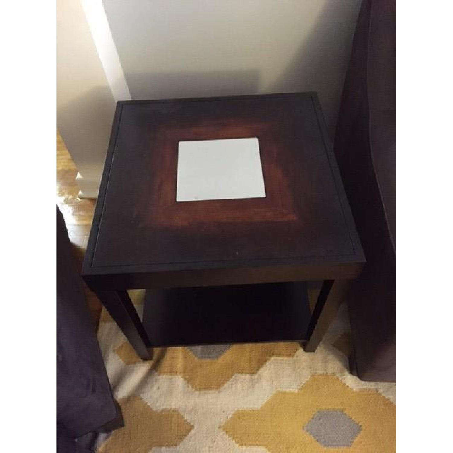 Dark Wood Side Table w/ Mirrored Center - image-3