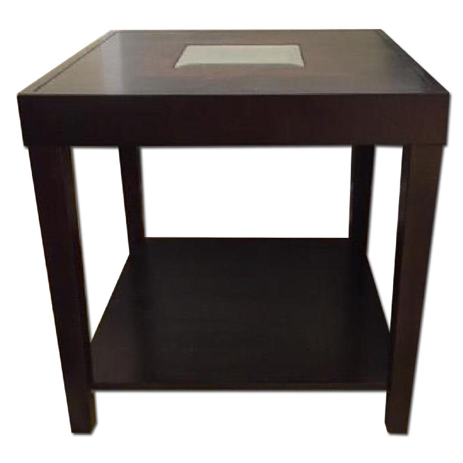 Dark Wood Side Table w/ Mirrored Center - image-0