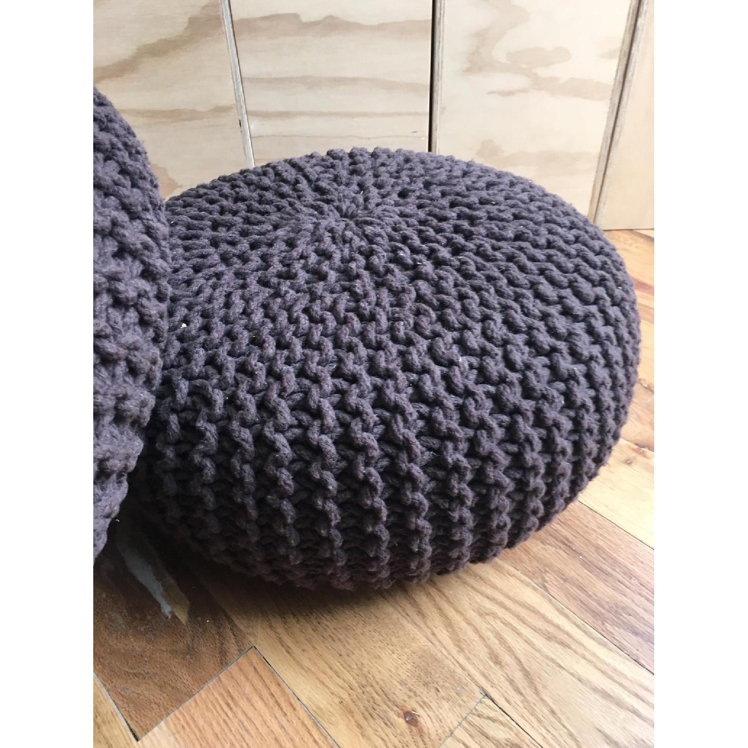 Hand Knitted Pure Cotton Braid Poufs - image-1