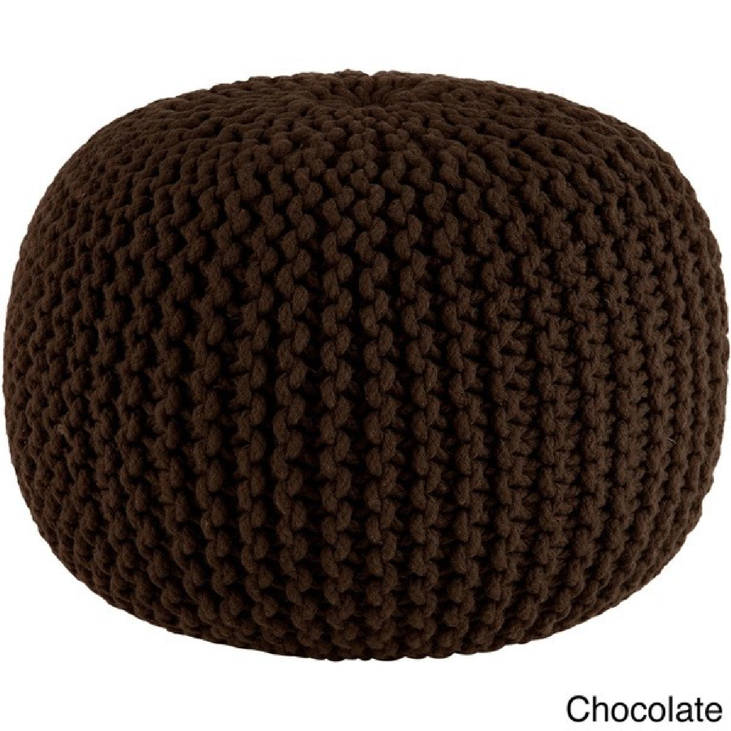Hand Knitted Pure Cotton Braid Poufs - image-4