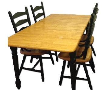 Butcher Block Top Kitchen Table w/ Self-Storing Extra Leaf & 4 Chairs