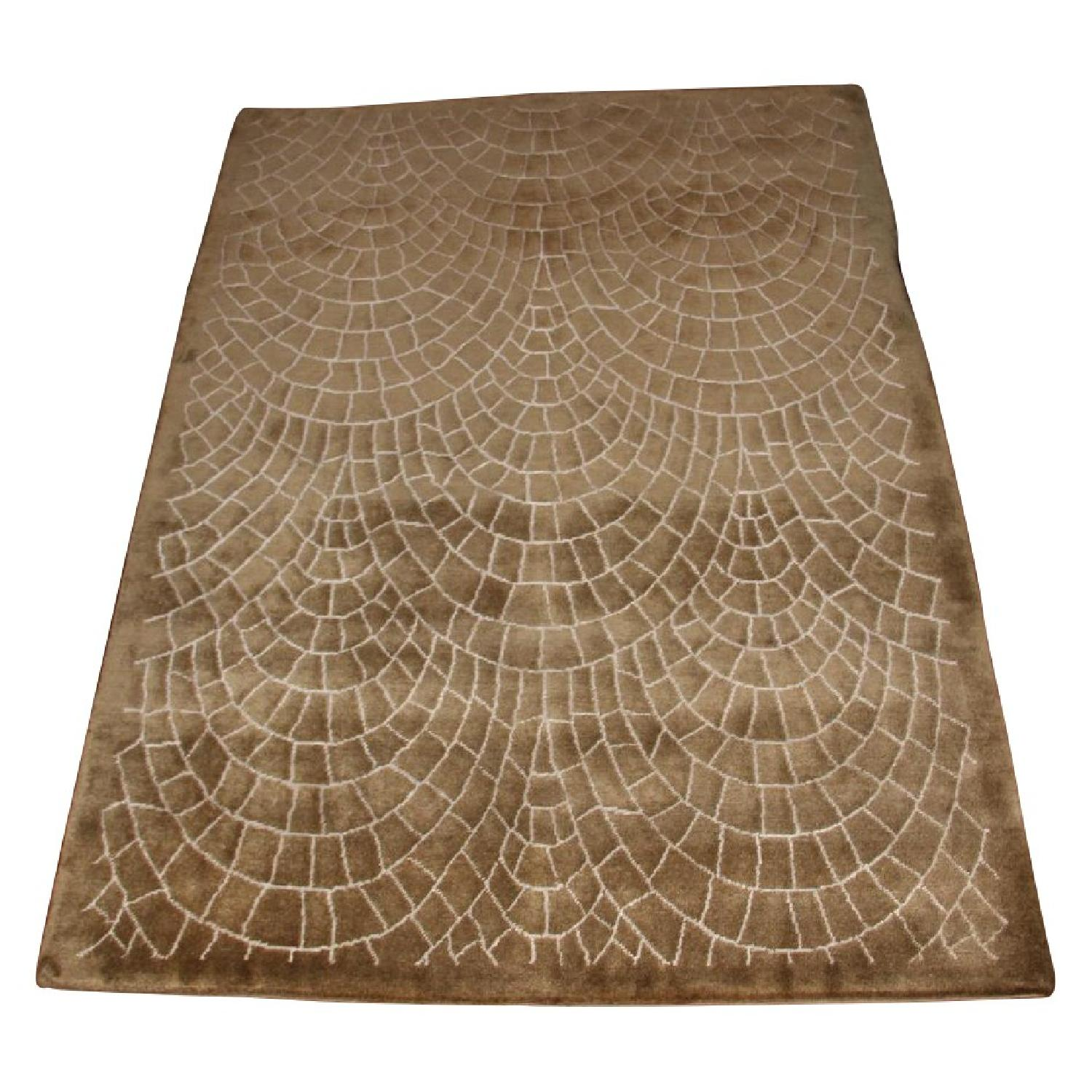 Contemporary Silk & Wool Indian Rug - image-0