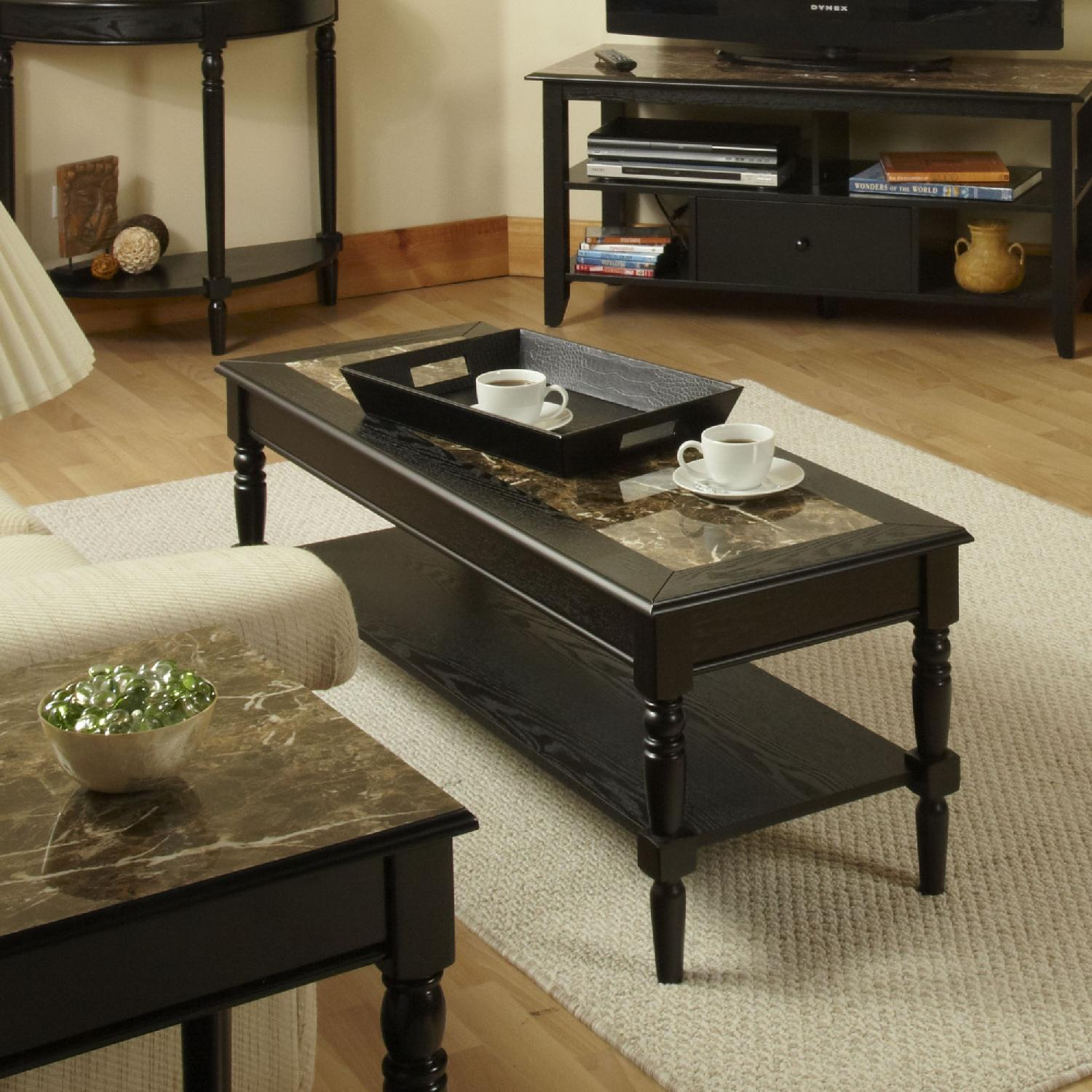 Convenience Concepts French Country Faux Marble Coffee Table - image-2