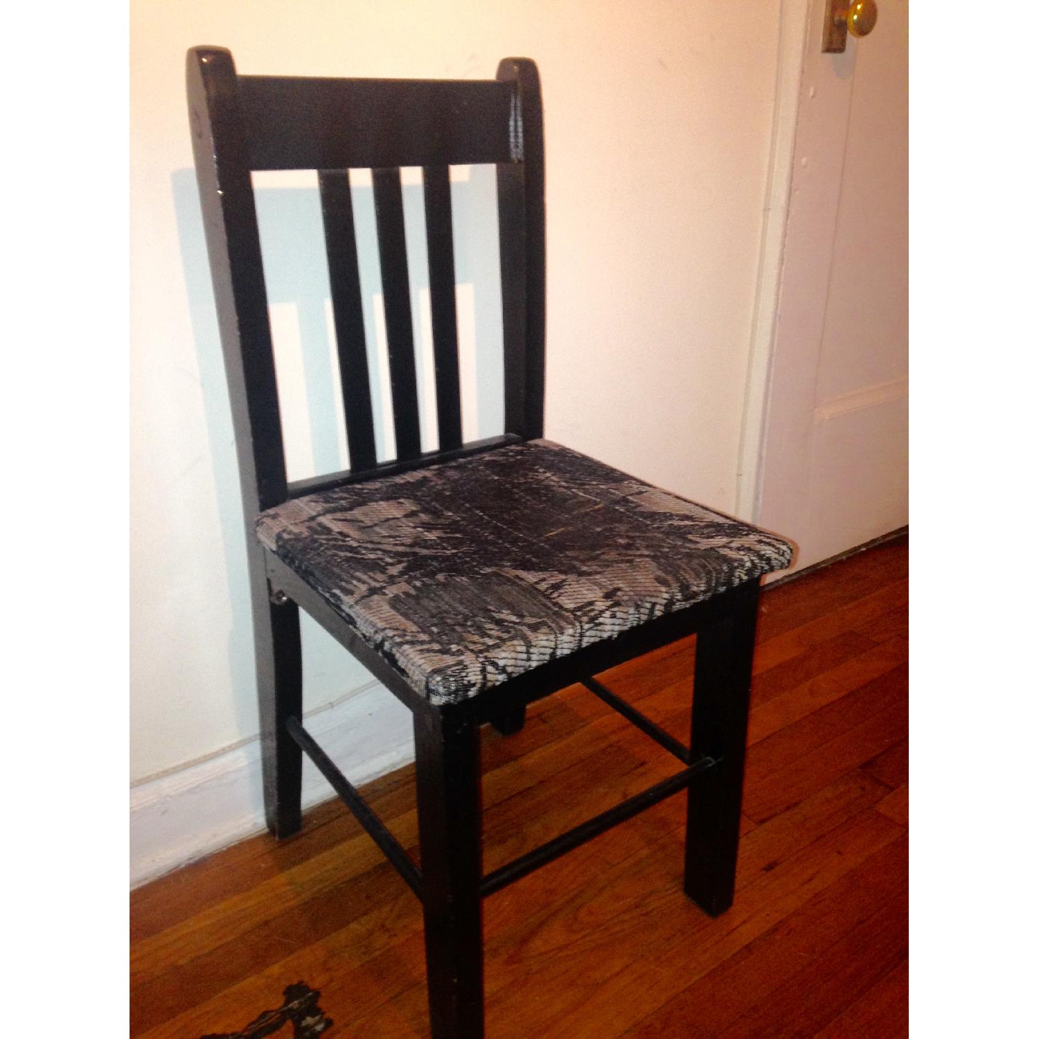 Retro Black Accent/Dining Chair w/ Knitted Fabric Seat - image-1
