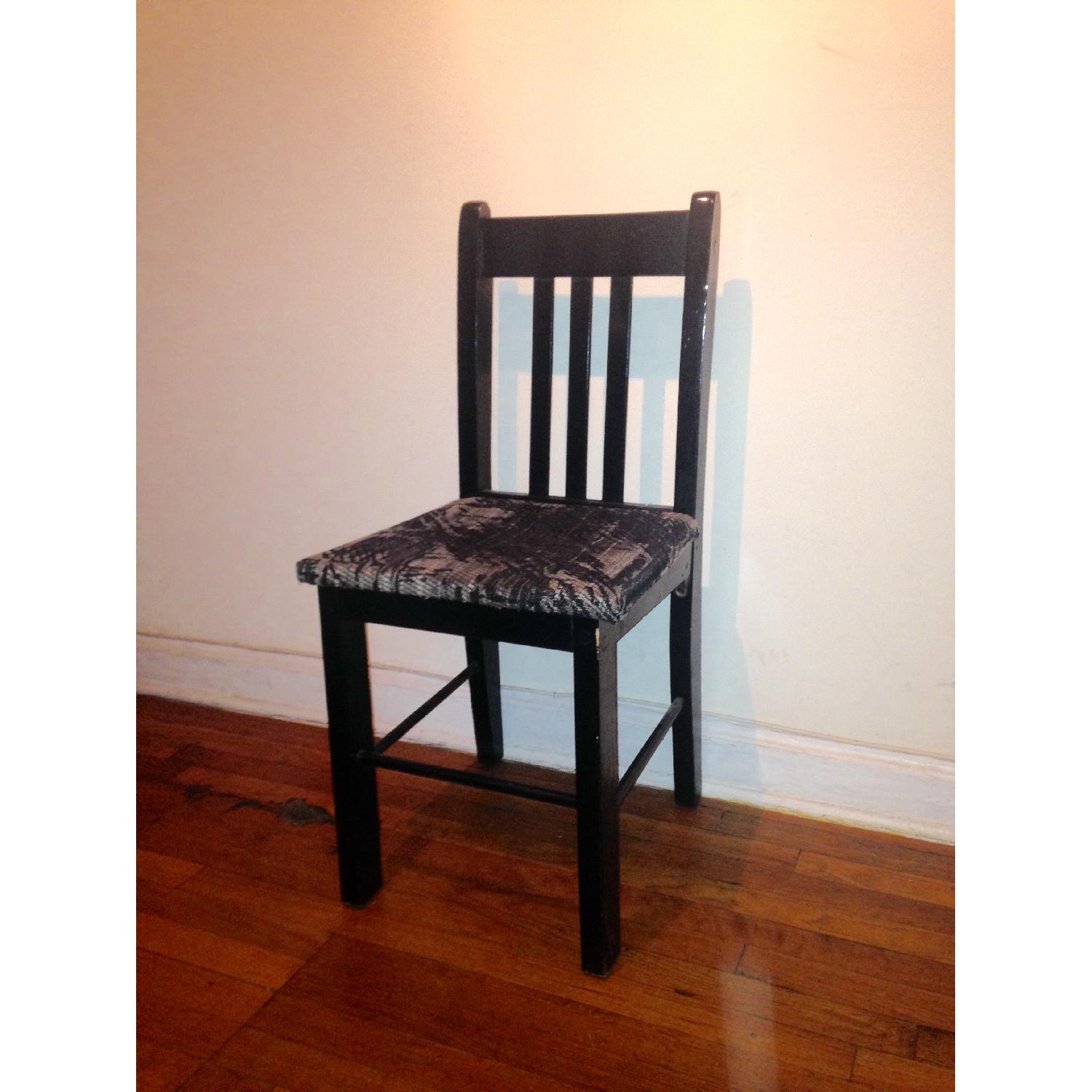 Retro Black Accent/Dining Chair w/ Knitted Fabric Seat - image-2