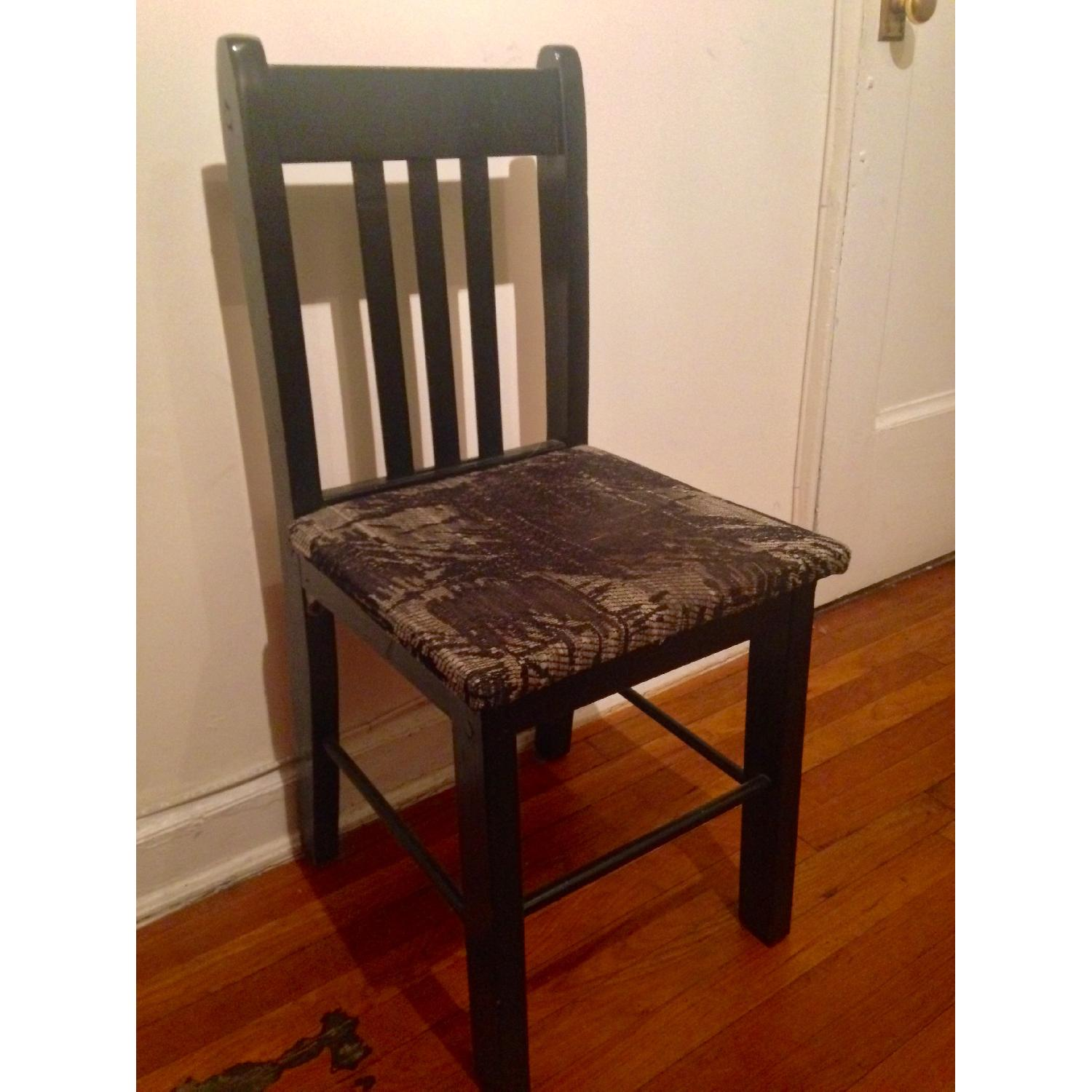 Retro Black Accent/Dining Chair w/ Knitted Fabric Seat - image-3