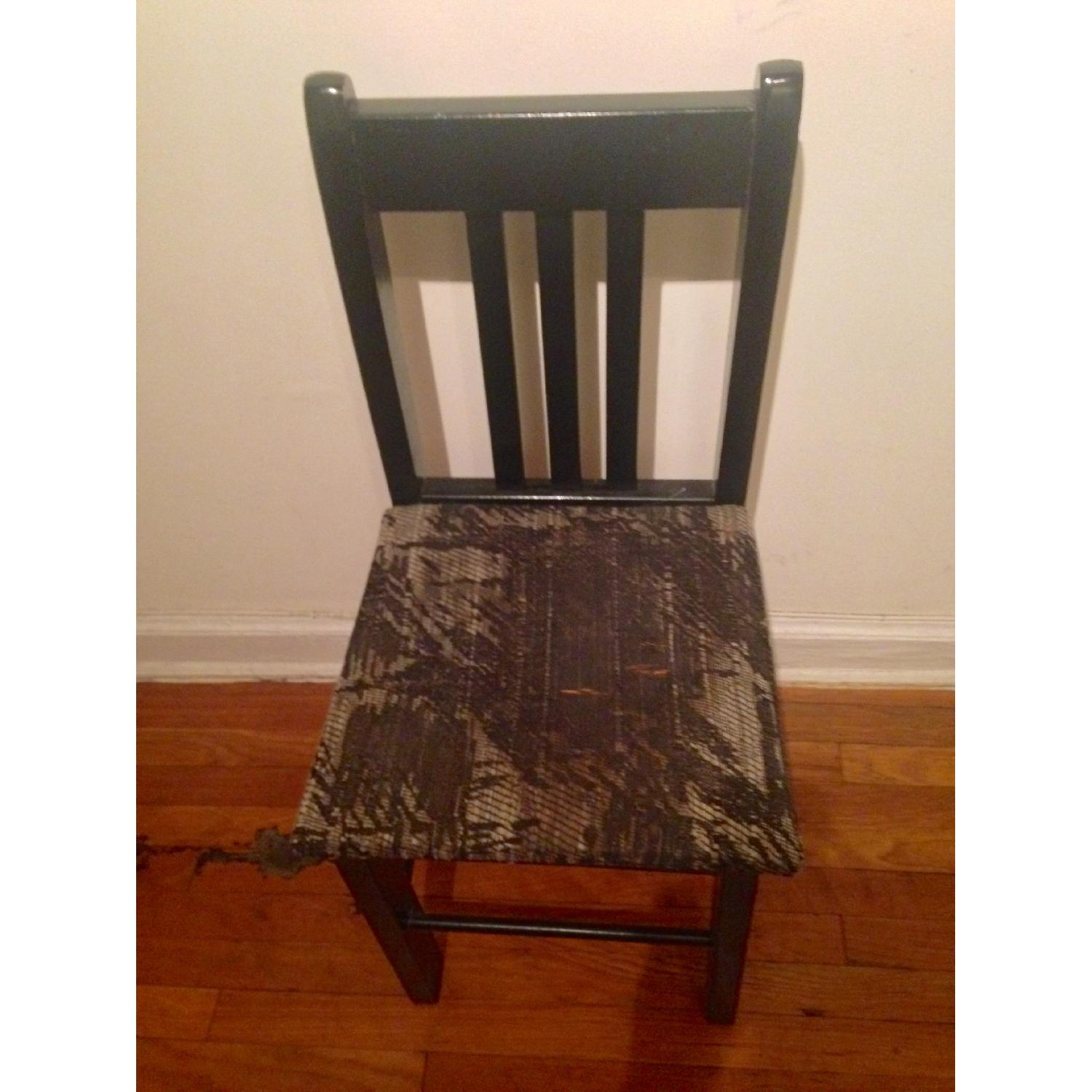 Retro Black Accent/Dining Chair w/ Knitted Fabric Seat - image-4
