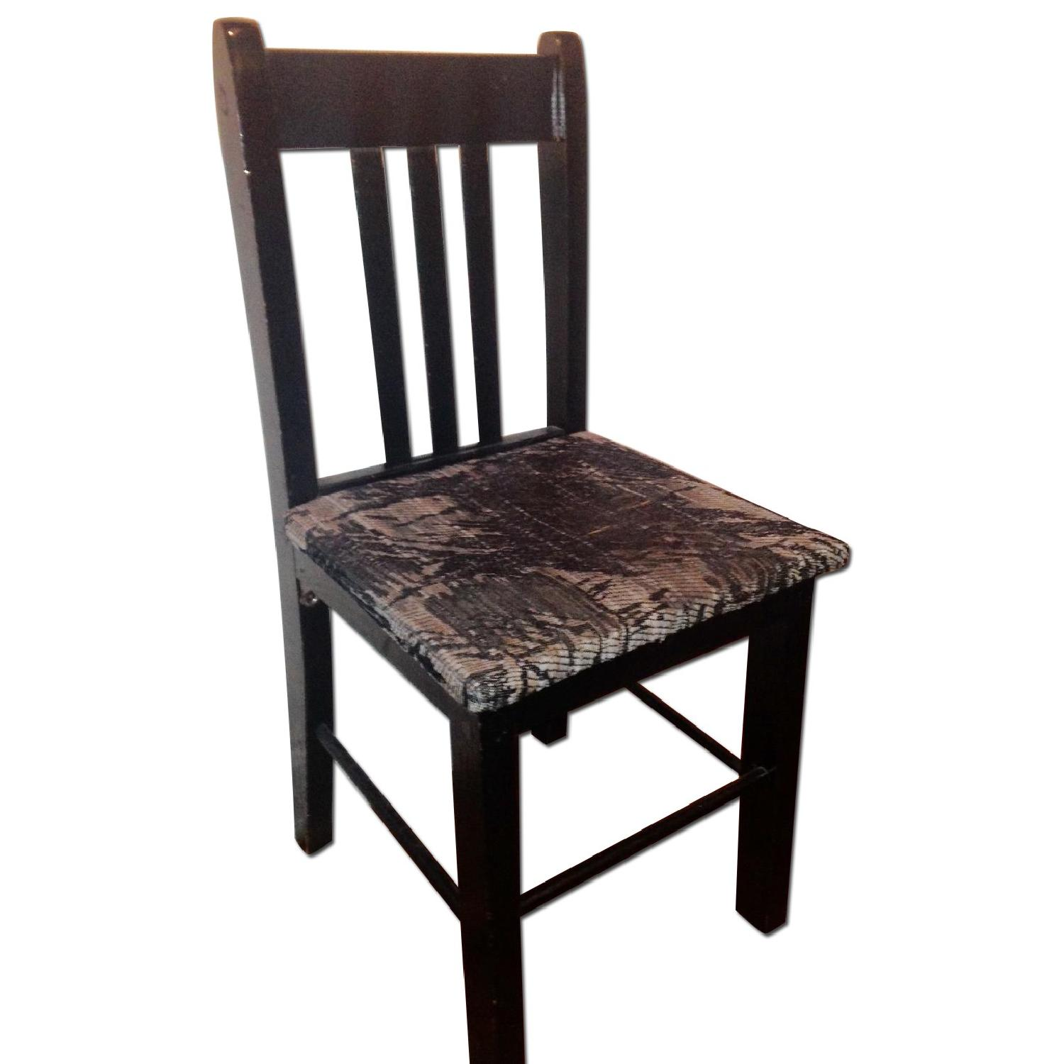 Retro Black Accent/Dining Chair w/ Knitted Fabric Seat - image-0