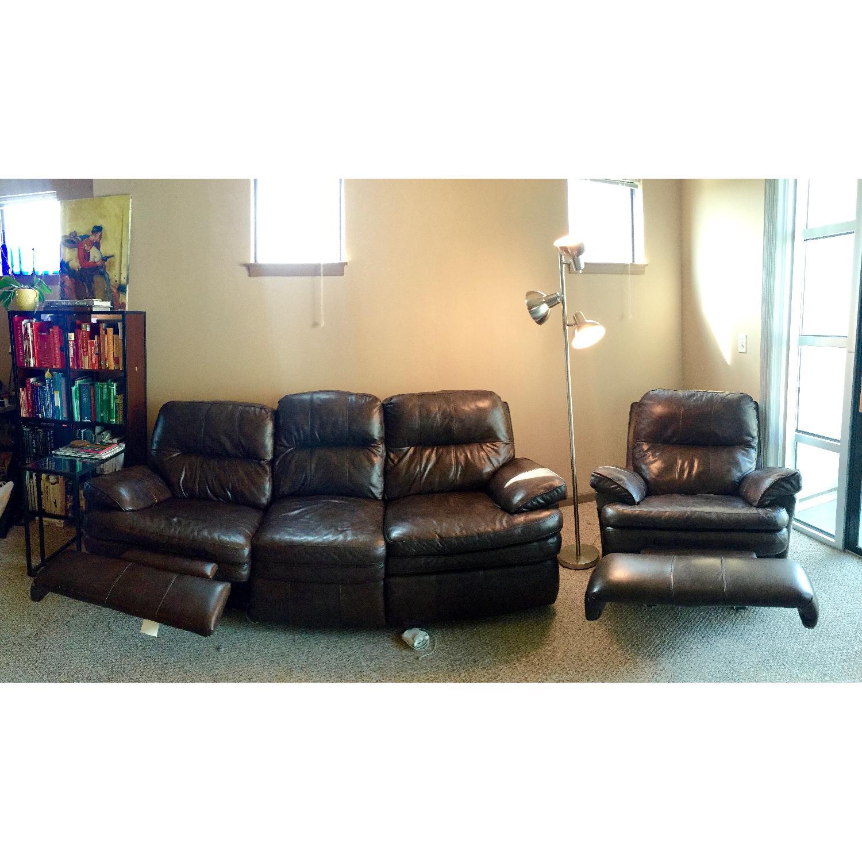 Lane Furniture Leather Reclining Sofa + Matching Recliner - image-1