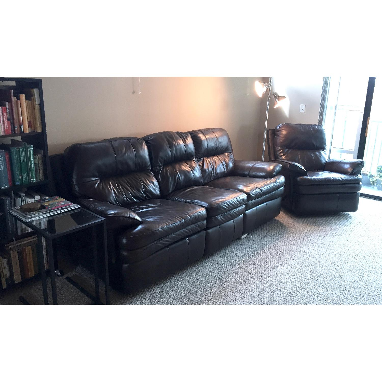 Lane Furniture Leather Reclining Sofa + Matching Recliner - image-2