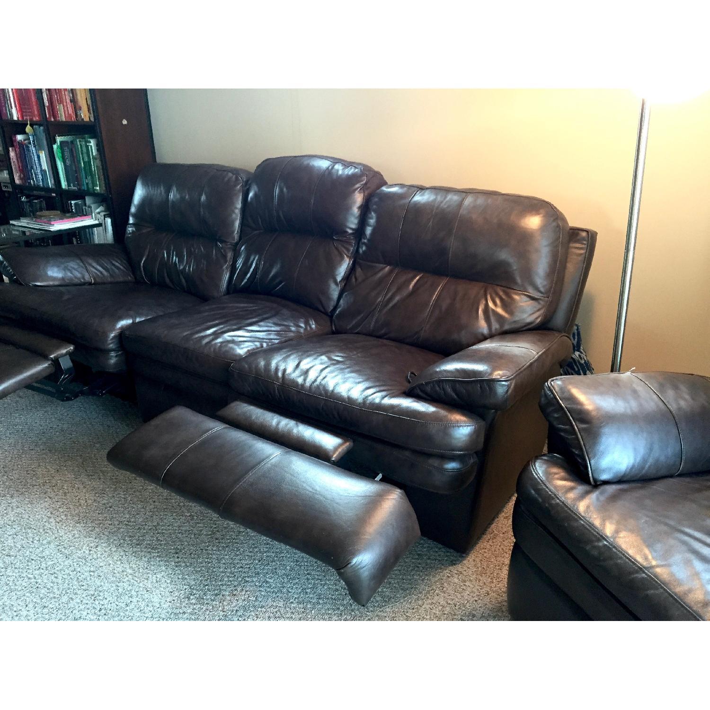 Lane Furniture Leather Reclining Sofa + Matching Recliner - image-3
