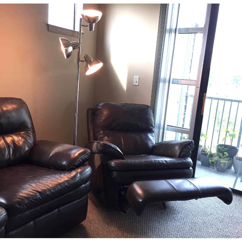 Lane Furniture Leather Reclining Sofa + Matching Recliner - image-5
