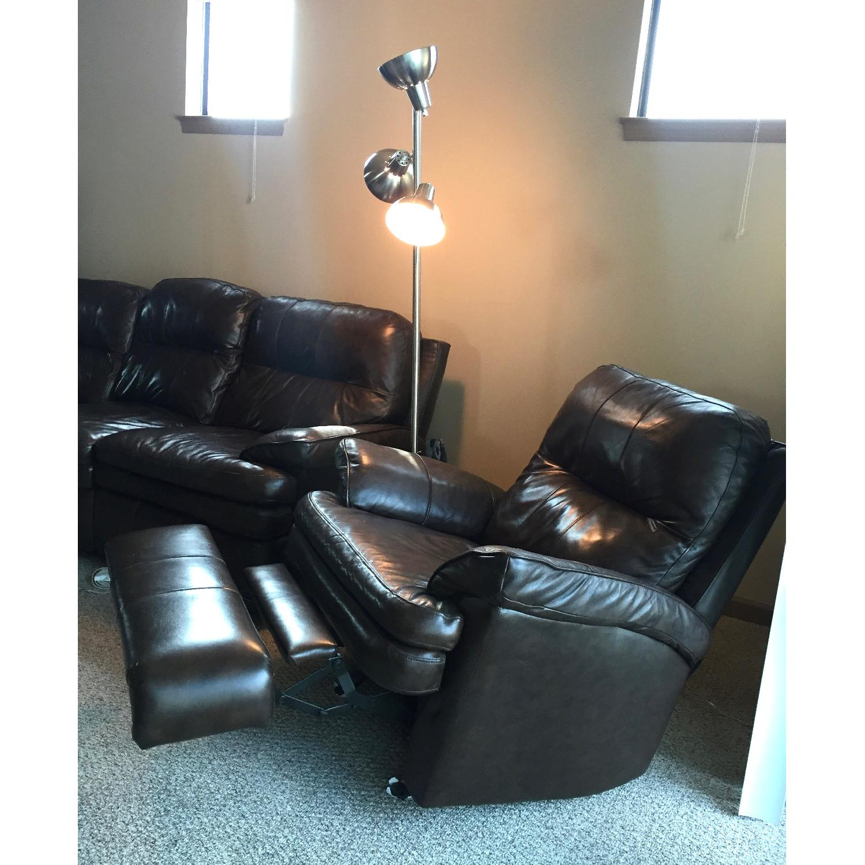 Lane Furniture Leather Reclining Sofa + Matching Recliner - image-6