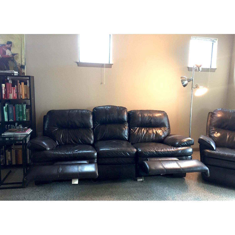 Lane Furniture Leather Reclining Sofa + Matching Recliner - image-7