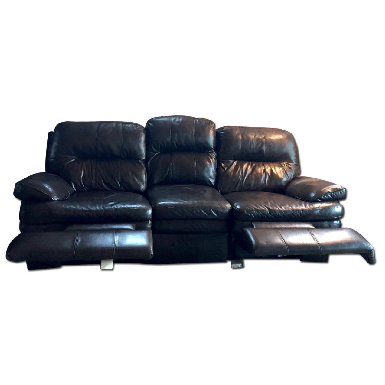 Lane Furniture Leather Reclining Sofa + Matching Recliner - image-0