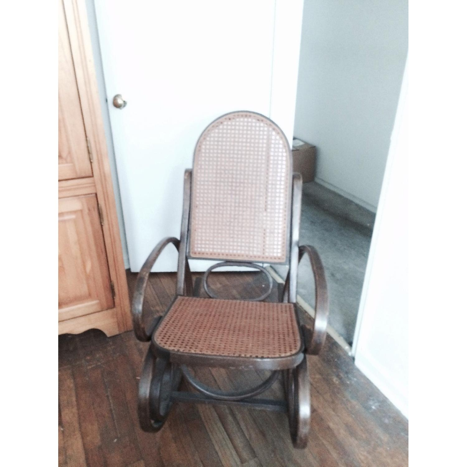 Rocking Wooden Rattan Chair - image-1