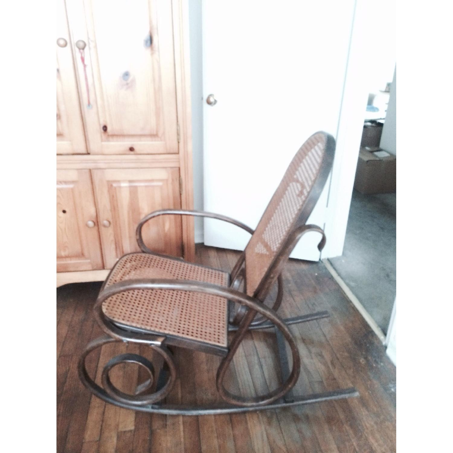 Rocking Wooden Rattan Chair - image-3