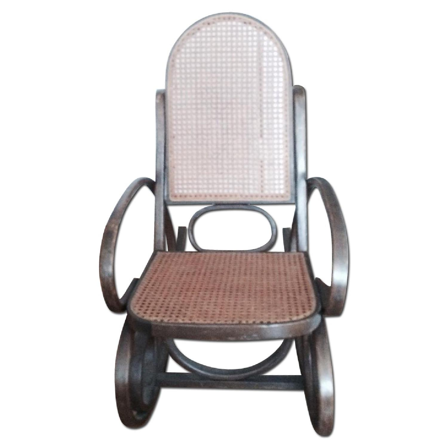 Rocking Wooden Rattan Chair - image-0