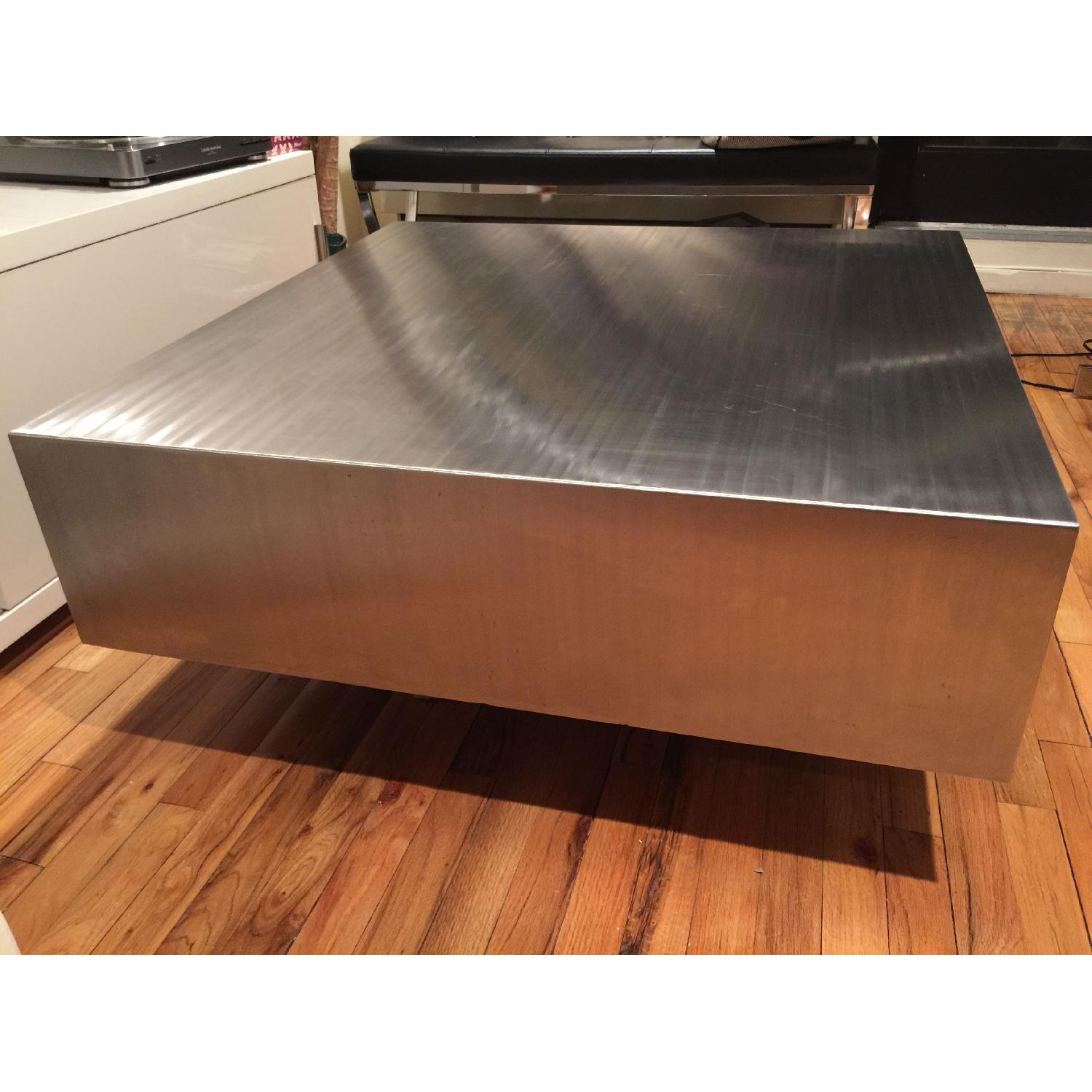 Industrial Brushed Stainless Steel Square Coffee Table - image-1