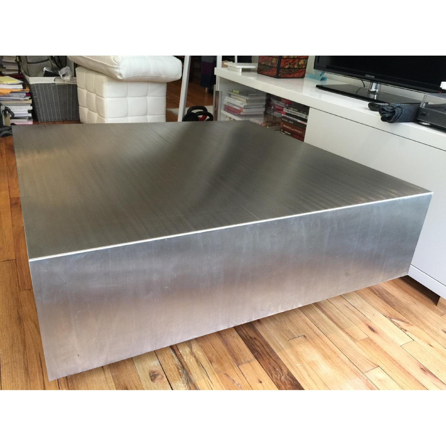 Industrial Brushed Stainless Steel Square Coffee Table - image-2