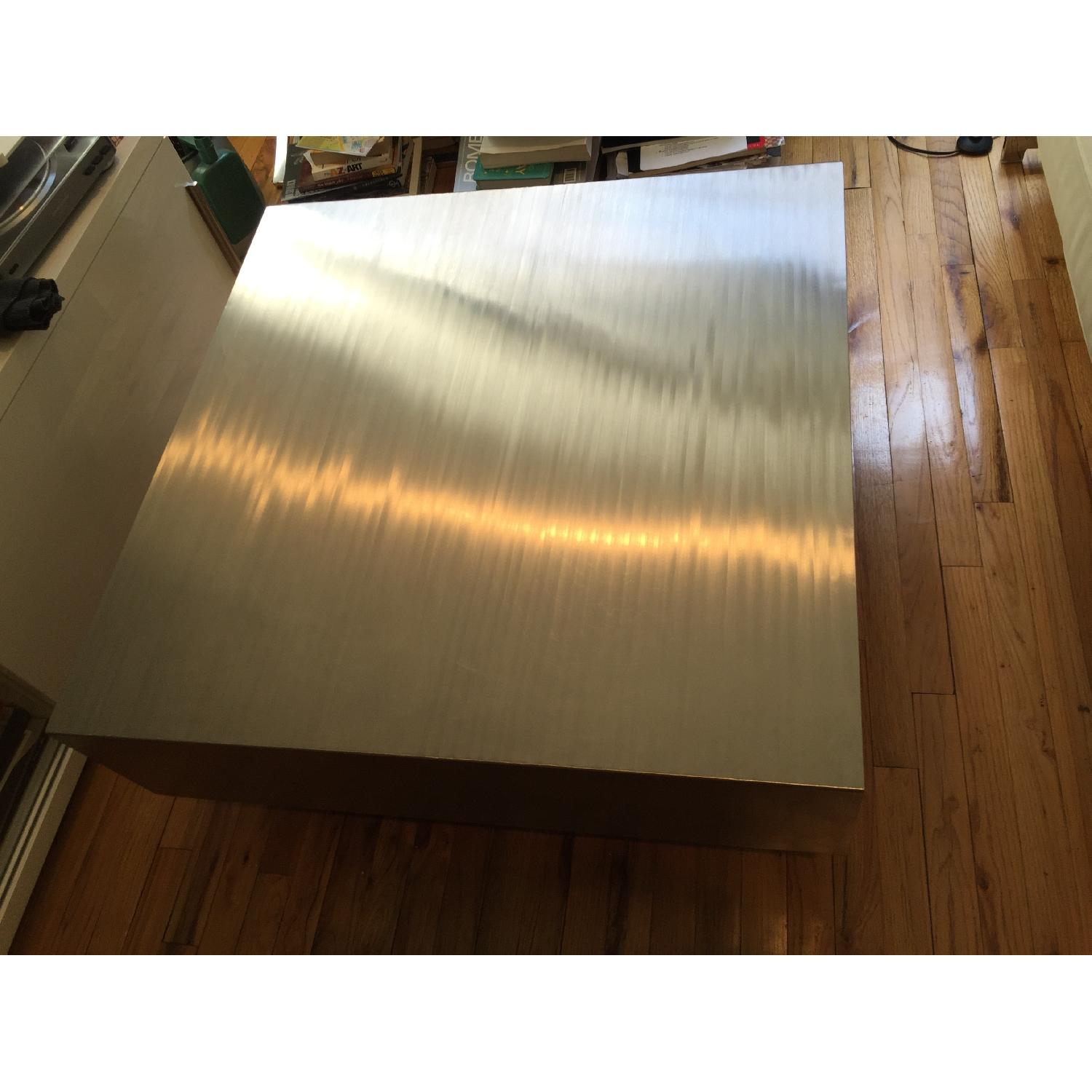 Industrial Brushed Stainless Steel Square Coffee Table - image-3
